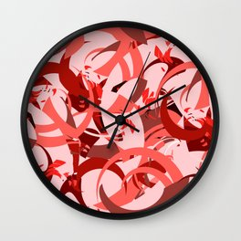 Abstract Curls - Burgundy, Coral, Pink Wall Clock