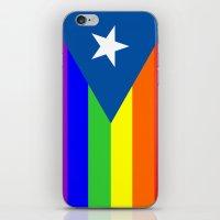 puerto rico iPhone & iPod Skins featuring puerto rico gay people homosexual flag rainbow by tony tudor