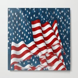 "ORIGINAL  AMERICANA FLAG ART ""STARS N' BARS"" PATTERNS Metal Print"