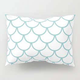 Chalky Blue Fish Scales Pattern Pillow Sham