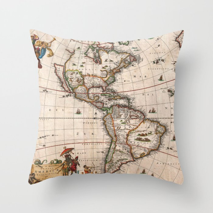 Map Of South America 2017.North South America Map 1658 With 2017 Enhancements Throw Pillow By Walden