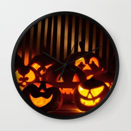 Group Of Funny Halloween Jack O Lantern Pumpkin Heads Wall Clock