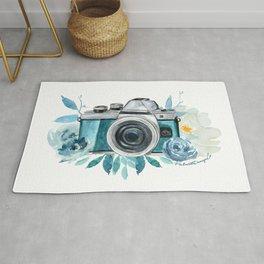 Blue Floral Camera Rug