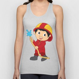 Firefighter Cartoon Kids Gift T-Shirt Unisex Tank Top