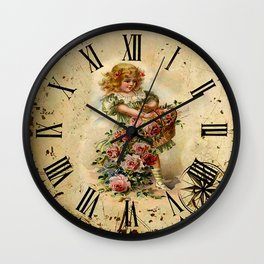 025 Wall clock Girl with flowers Wall Clock
