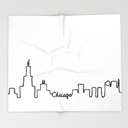 Chicago Skyline Abstract Sketch Throw Blanket