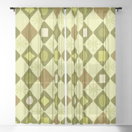 Mid Century Modern Chartreuse Diamonds Sheer Curtain