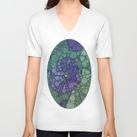 potato V-neck T-shirts featuring Percolated Purple Potato Flower by Charma Rose