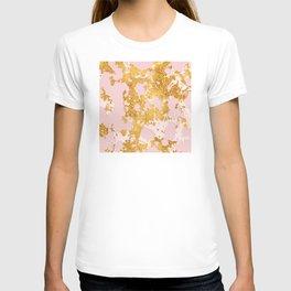 24-Karat Gold Sparking Marble Veins on Pink Blush T-shirt