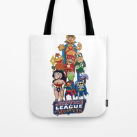 justice league Tote Bags featuring Justice League of Muppets by JoshEssel