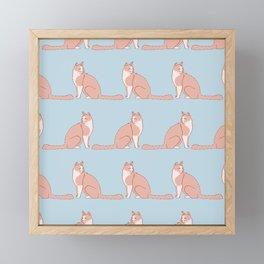 Cute Fluffy Kitten Pattern Framed Mini Art Print