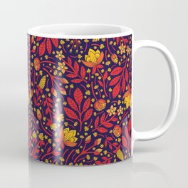 Saturated Red, Yellow & Orange & Dark Navy Blue Floral Pattern Coffee Mug