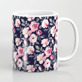 Moody Vintage Rose Chintz in Peach Pink Coffee Mug