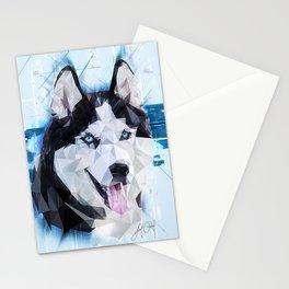 Siberian Husky (Low Poly) Stationery Cards