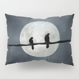 Silvery Moon And Crows Pillow Sham