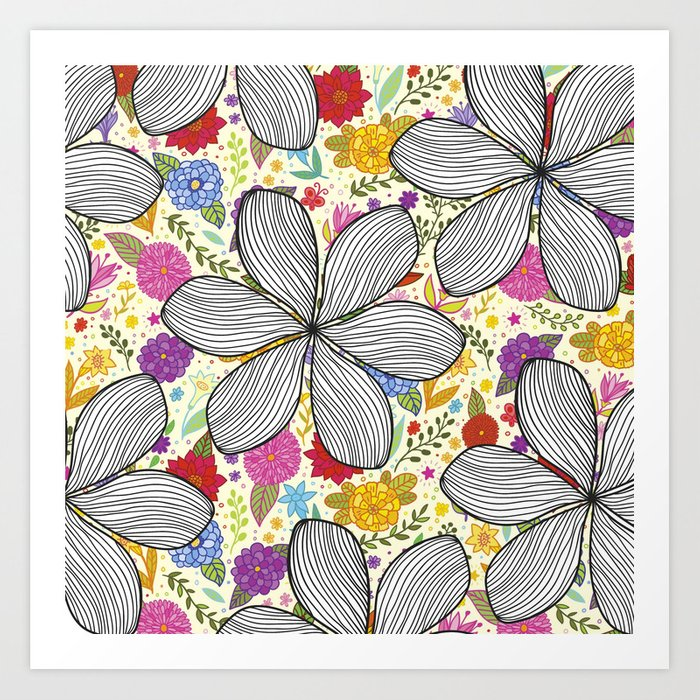 Spring flowers draw pattern art print by gfreire society6 spring flowers draw pattern art print mightylinksfo