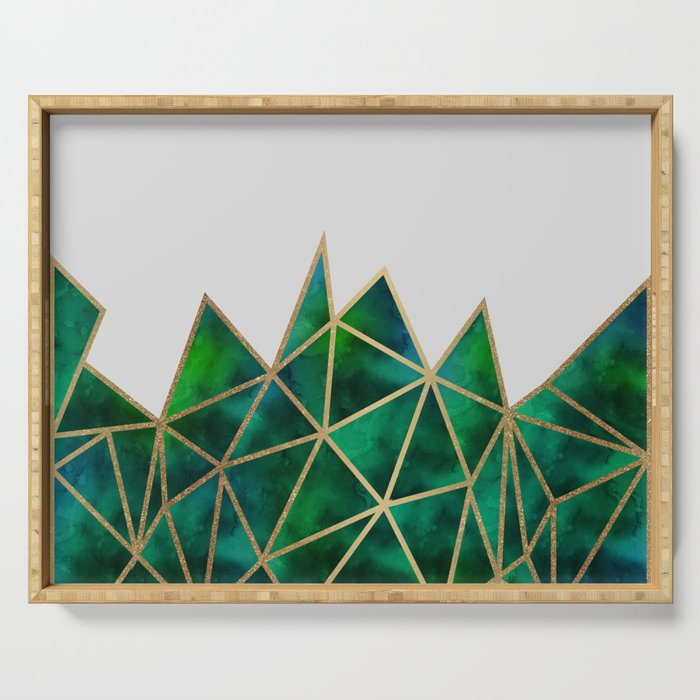 Emerald & Gold Geometric Serving Tray