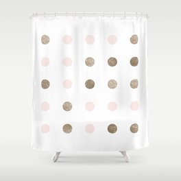Blush Pink Modern Dots Shower Curtain