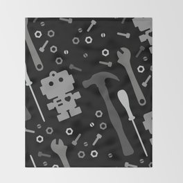 Techie Tools - black and grey Throw Blanket