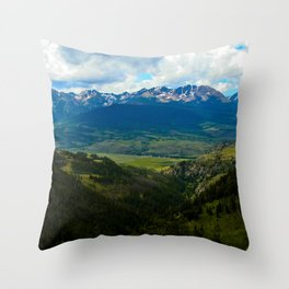 Gore Range with ranches below Throw Pillow