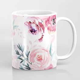 Pink Watercolor Florals I Coffee Mug