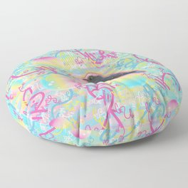 Summery Bubbly Bird Floor Pillow