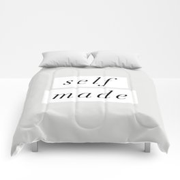 Self Made modern black and white minimalist typography home room wall decor black-white letters Comforters