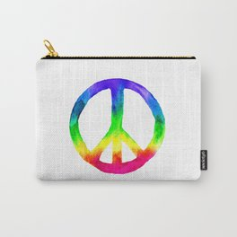 Rainbow Watercolor Peace Sign Carry-All Pouch