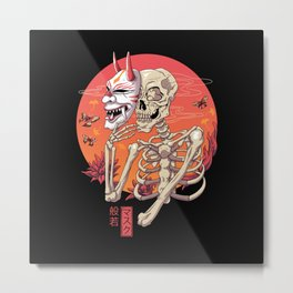 Hannya Spirit Mask Metal Print