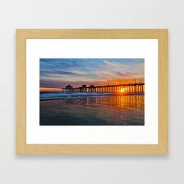 HB Sunsets - Sunset At The Huntington Beach Pier 3/10/16 Framed Art Print