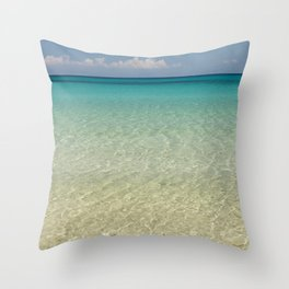 Crystal clear turquoise shaded waters of a sandy beach Throw Pillow