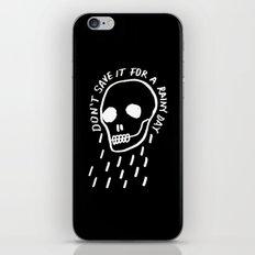 rainy day minimal skull hand lettering (dark) iPhone & iPod Skin