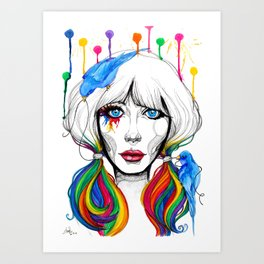 Zooey - Twisted Celebrity Watercolor Art Print