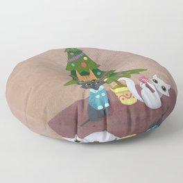 Meowy Christmas Floor Pillow
