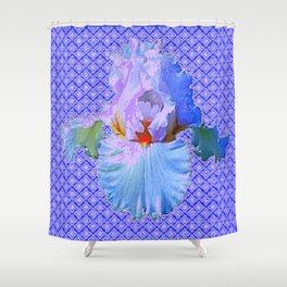 BLUISH-WHITE PASTEL IRIS FLOWERS OPTICAL ART PATTERNS Shower Curtain
