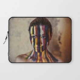 Woman With Colorful Painted Face Laptop Sleeve