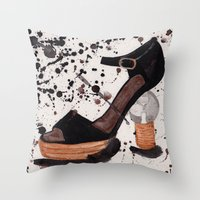 shoe Throw Pillows featuring Shoe by Melania B