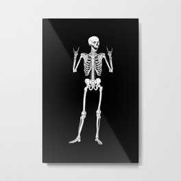 Metal and Rock and Roll Skeleton Metal Print