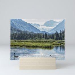 Swans on Tern Lake Mini Art Print