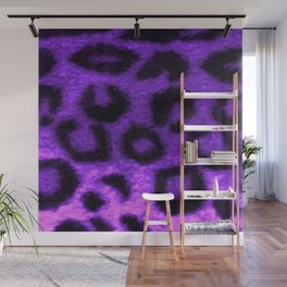 Spotted Leopard Purple Wall Mural