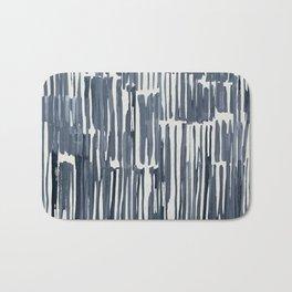 Simply Bamboo Brushstroke Indigo Blue on Lunar Gray Bath Mat