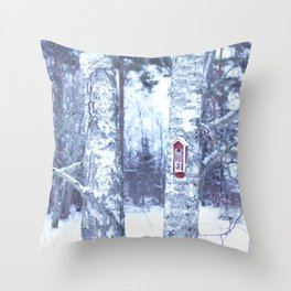 Red Bird House in Winter White Scene #decor #society6 #buyart Throw Pillow