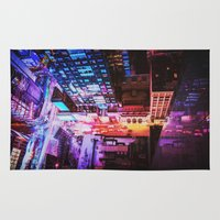 blade runner Area & Throw Rugs featuring New York City Blade Runner by Vivienne Gucwa