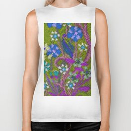Starry Floral Felted Wool, Moss Green and Violet Biker Tank