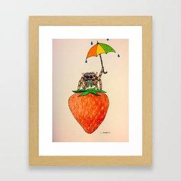Strawberry Spider with Umbrella Framed Art Print