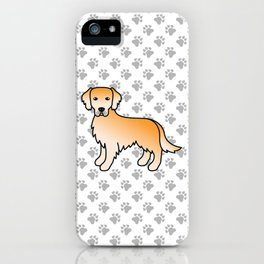 Yellow Golden Retriever Breed Dog Cute Cartoon Illustration iPhone Case