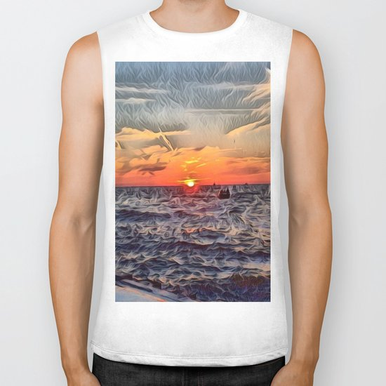 Lake Michigan Romantic Sunset Biker Tank