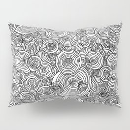 Freehand Concentric Ink Circles Pillow Sham
