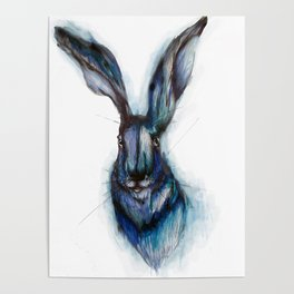 Blue Hare Poster