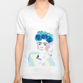 frida kahlo septum Unisex V-Neck